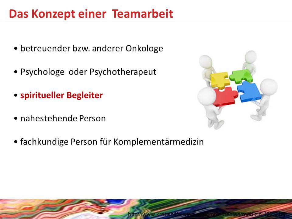Das Konzept einer Teamarbeit http://www.krebshilfe-wien.at/Komplementaermedizin.102.0.html betreuender bzw. anderer Onkologe Psychologe oder Psychothe