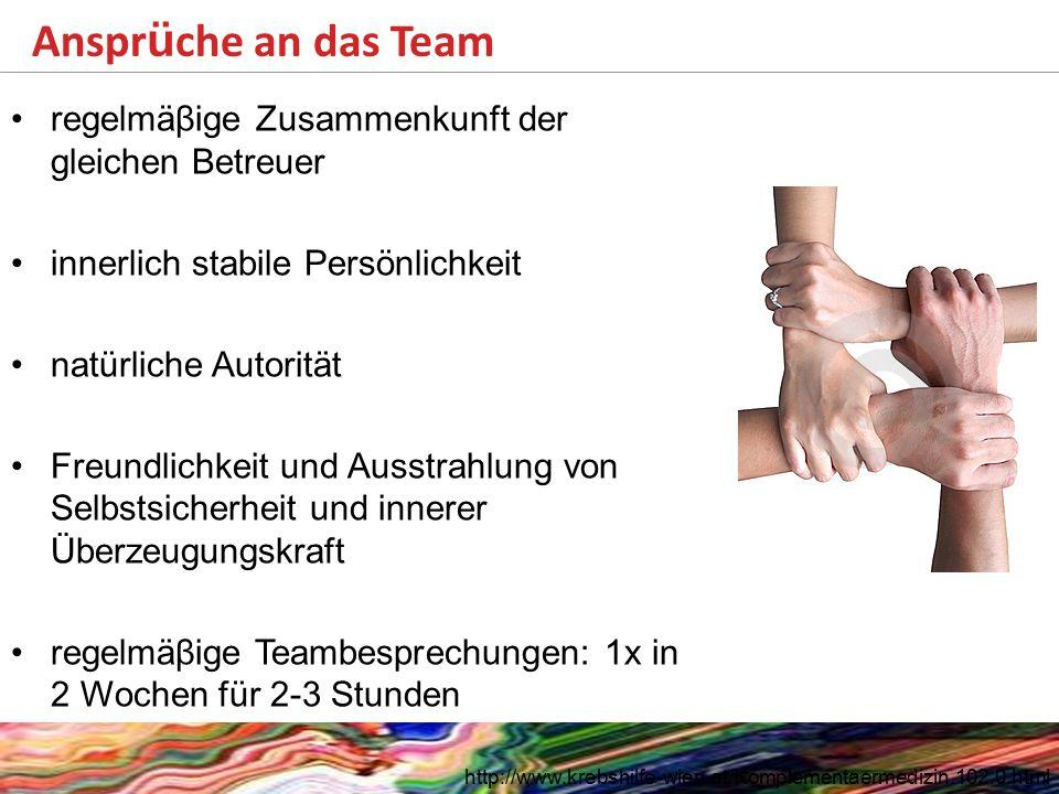 Anspr ü che an das Team http://www.krebshilfe-wien.at/Komplementaermedizin.102.0.html regelmäβige Zusammenkunft der gleichen Betreuer innerlich stabil