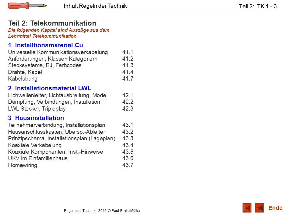 Regeln der Technik - 2015 © Paul-Emile Müller Inhalt Regeln der Technik Teil 2: TK 1 - 3 Teil 2: Telekommunikation Die folgenden Kapitel sind Auszüge