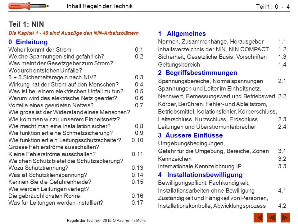 Regeln der Technik - 2015 © Paul-Emile Müller Inhalt Regeln der Technik Teil 1: 0 - 4 Teil 1: NIN Die Kapitel 1 - 40 sind Auszüge den NIN-Arbeitsblätt