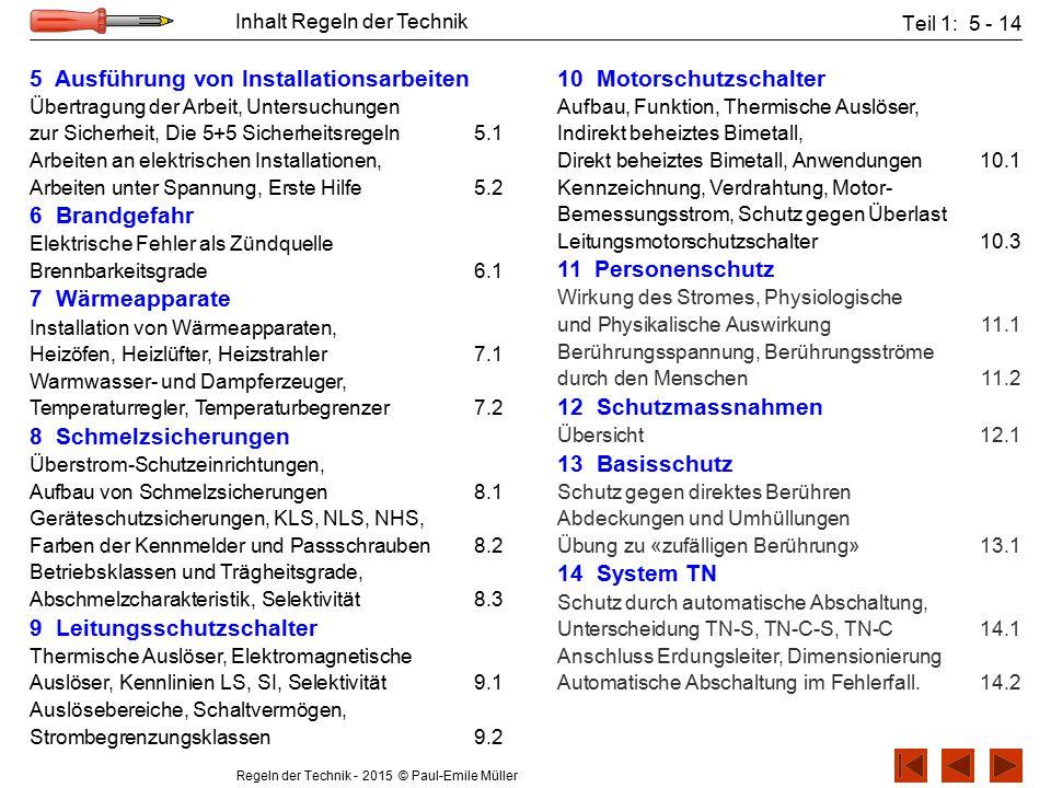 Regeln der Technik - 2015 © Paul-Emile Müller Inhalt Regeln der Technik Teil 1: 5 - 14 5 Ausführung von Installationsarbeiten Übertragung der Arbeit,