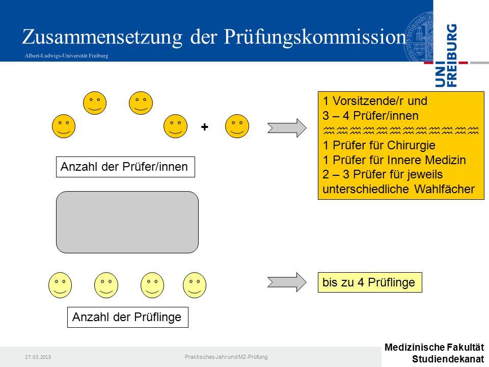 27.03.2015 Praktisches Jahr und M2-Prüfung Zusammensetzung der Prüfungskommission + 1 Vorsitzende/r und 3 – 4 Prüfer/innen  1 Prüfer für C
