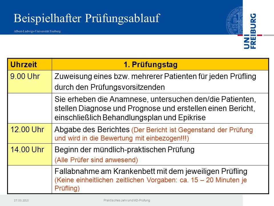 27.03.2015 Praktisches Jahr und M2-Prüfung Uhrzeit 1.