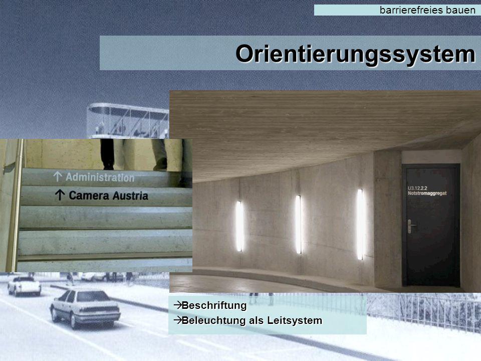 Orientierungssystem barrierefreies bauen  Kontrast  allgem. Verständlich