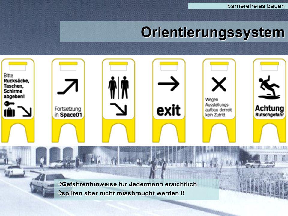 Orientierungssystem barrierefreies bauen  Aufmerksamkeitserregende Hinweisschilder  Kontrast Schwarz / Weiß, Gelb  Gelb – für Sehbeeinträchtigte gu