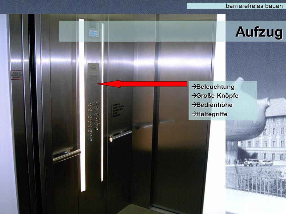Aufzug barrierefreies bauen  Lesbarkeit  Bedienhöhe  Plan