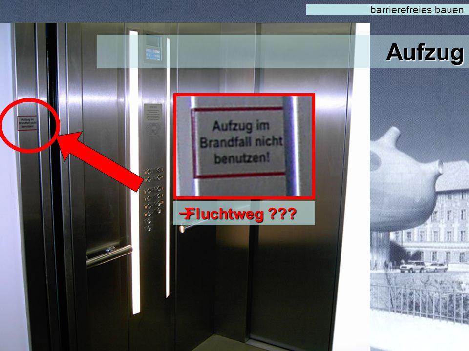 Aufzug barrierefreies bauen  Beleuchtung  Große Knöpfe  Bedienhöhe  Haltegriffe