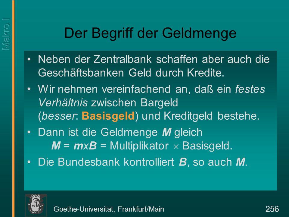 Goethe-Universität, Frankfurt/Main 256 Der Begriff der Geldmenge Neben der Zentralbank schaffen aber auch die Geschäftsbanken Geld durch Kredite. Wir