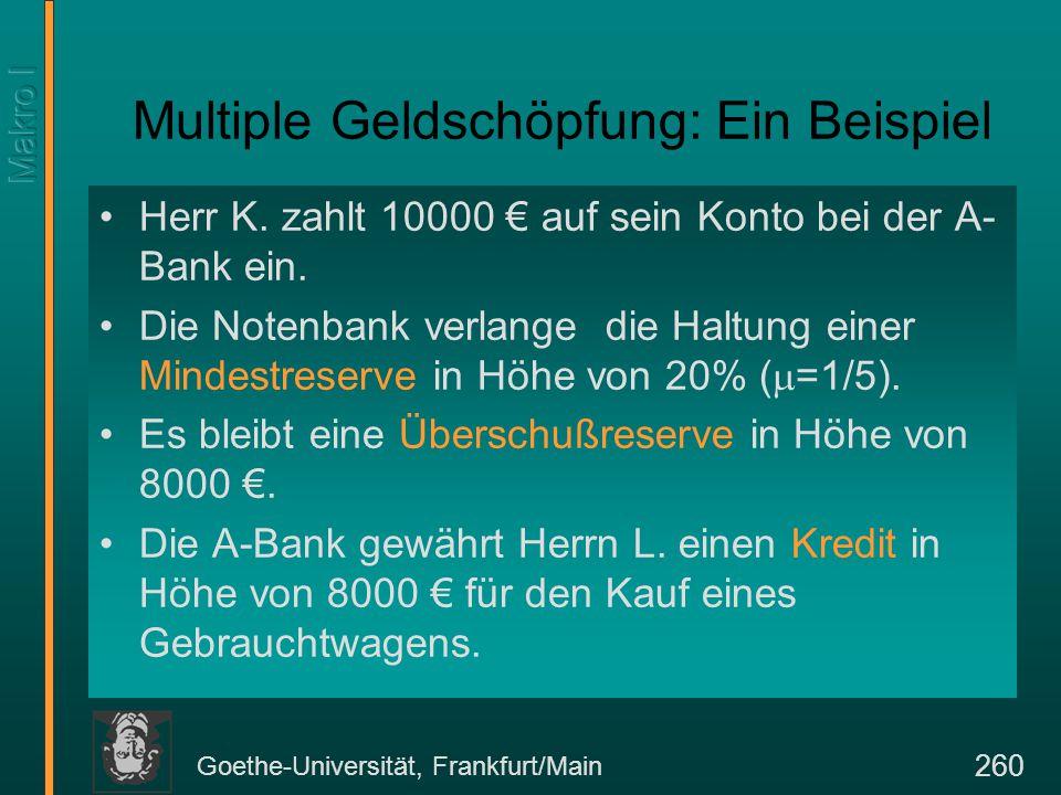 Goethe-Universität, Frankfurt/Main 260 Multiple Geldschöpfung: Ein Beispiel Herr K. zahlt 10000 € auf sein Konto bei der A- Bank ein. Die Notenbank ve