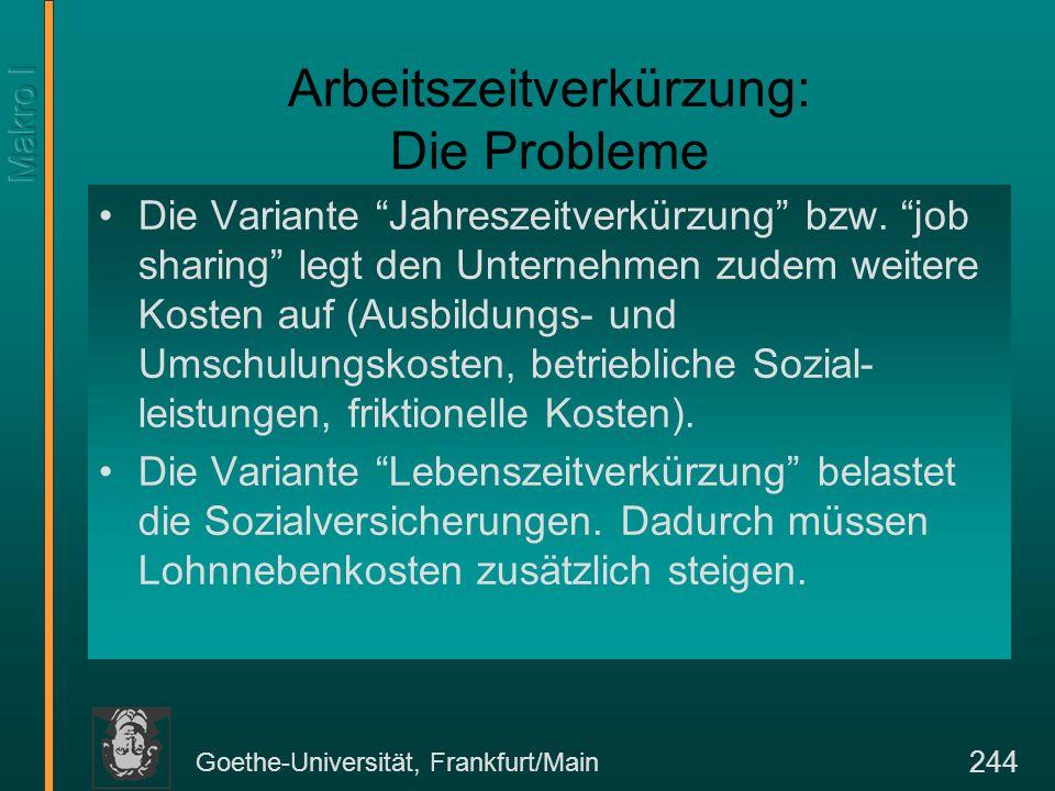 """Goethe-Universität, Frankfurt/Main 244 Arbeitszeitverkürzung: Die Probleme Die Variante """"Jahreszeitverkürzung"""" bzw. """"job sharing"""" legt den Unternehmen"""