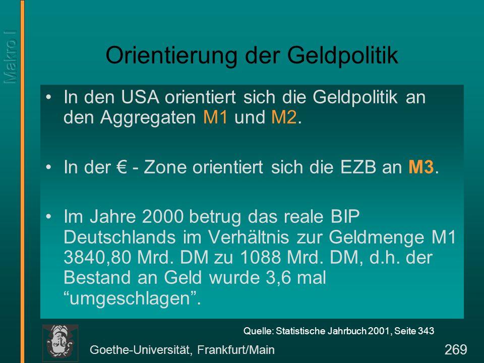 Goethe-Universität, Frankfurt/Main 269 Orientierung der Geldpolitik In den USA orientiert sich die Geldpolitik an den Aggregaten M1 und M2. In der € -