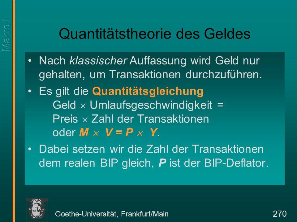 Goethe-Universität, Frankfurt/Main 270 Quantitätstheorie des Geldes Nach klassischer Auffassung wird Geld nur gehalten, um Transaktionen durchzuführen
