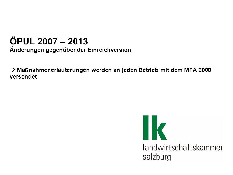 """30.08.06 /Folie 2 Genehmigungsprozess des ÖPUL 07`  Programm in Brüssel vom ELER-Ausschuss am 19.September genehmigt  Zwischen Einreichversion (Jänner 07´) und genehmigter Version im September wurden einige wesentliche Änderungen durchgeführt:  Vergleich mit Maßnahmen anderer Mitgliedsstaaten (Bsp.: Steilflächenmahd, Salzburger Regionalprojekt) ergab in Österreich wesentlich höhere Prämien  ÖPUL muss über die Anforderungen von Cross Compliance hinausgehen (Bsp.: Nitratrichtlinie – 170kg N/ha)  Generelle Diskussion (auch national) über Leistungsabgeltungen (""""Intensivierungsprogramm ,...)"""