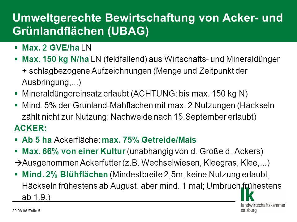 30.08.06 /Folie 5 Umweltgerechte Bewirtschaftung von Acker- und Grünlandflächen (UBAG)  Max. 2 GVE/ha LN  Max. 150 kg N/ha LN (feldfallend) aus Wirt