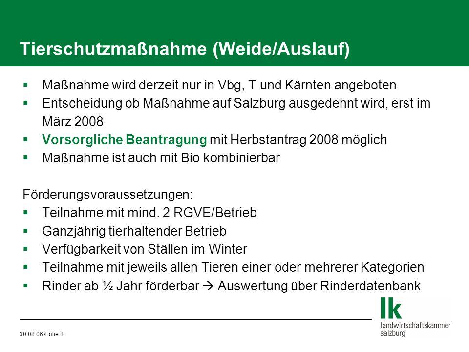 30.08.06 /Folie 8 Tierschutzmaßnahme (Weide/Auslauf)  Maßnahme wird derzeit nur in Vbg, T und Kärnten angeboten  Entscheidung ob Maßnahme auf Salzbu