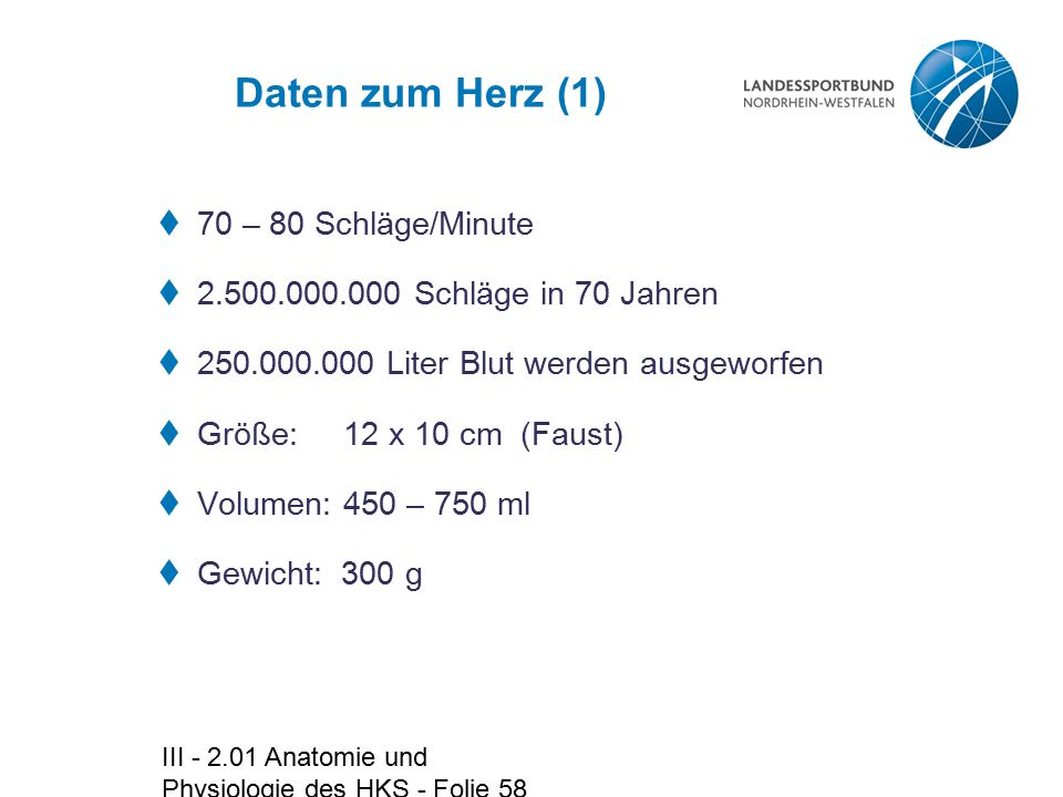 III - 2.01 Anatomie und Physiologie des HKS - Folie 58 Daten zum Herz (1)  70 – 80 Schläge/Minute  2.500.000.000 Schläge in 70 Jahren  250.000.000