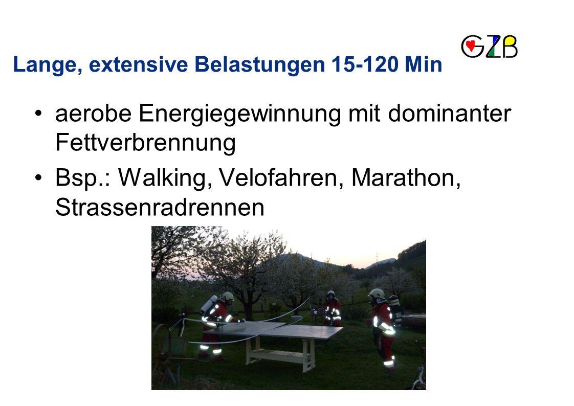 aerobe Energiegewinnung mit dominanter Fettverbrennung Bsp.: Walking, Velofahren, Marathon, Strassenradrennen Lange, extensive Belastungen 15-120 Min
