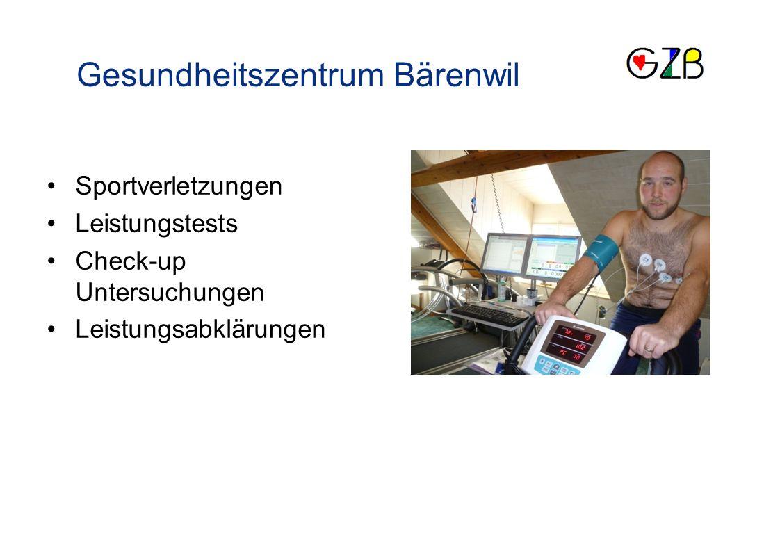 Sportverletzungen Leistungstests Check-up Untersuchungen Leistungsabklärungen Gesundheitszentrum Bärenwil