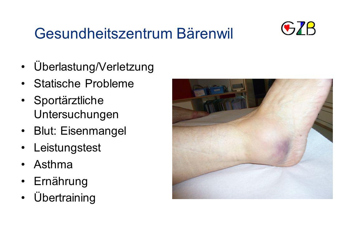 Schwerpunkte Überlastung/Verletzung Statische Probleme Sportärztliche Untersuchungen Blut: Eisenmangel Leistungstest Asthma Ernährung Übertraining Gesundheitszentrum Bärenwil