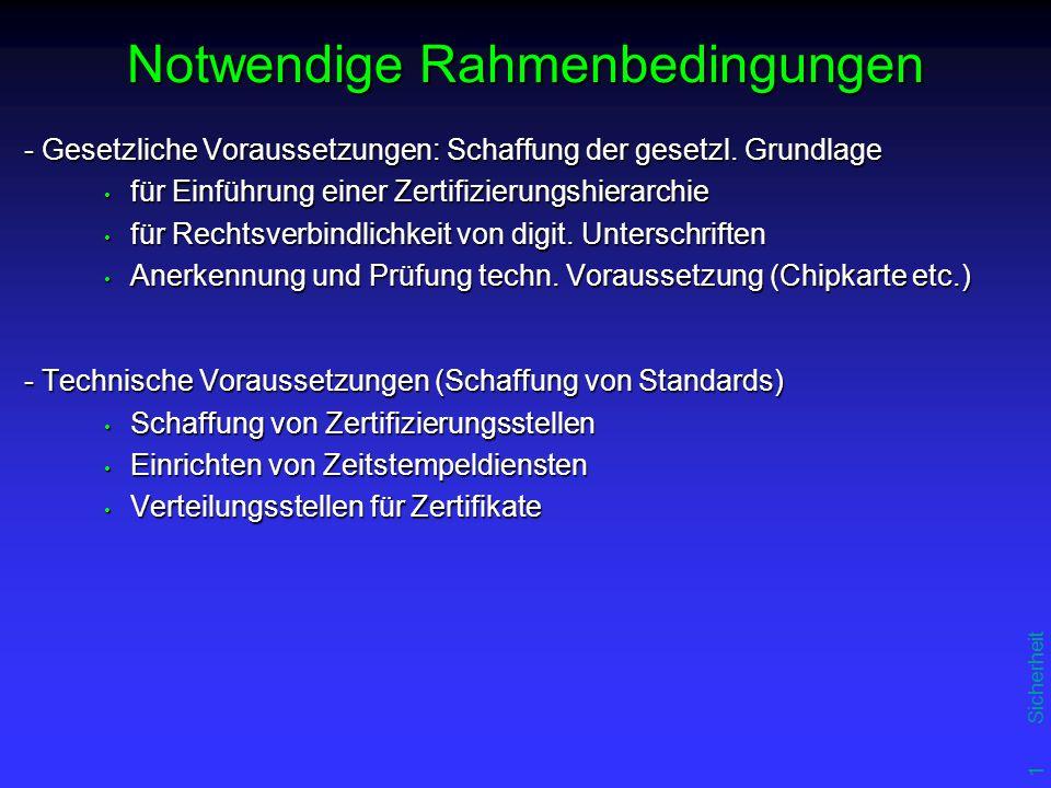 16 Sicherheit Notwendige Rahmenbedingungen - Gesetzliche Voraussetzungen: Schaffung der gesetzl.