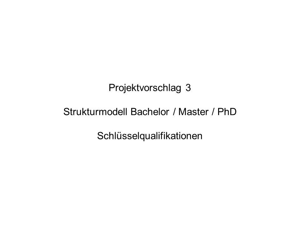 Projektvorschlag 3 Strukturmodell Bachelor / Master / PhD Schlüsselqualifikationen