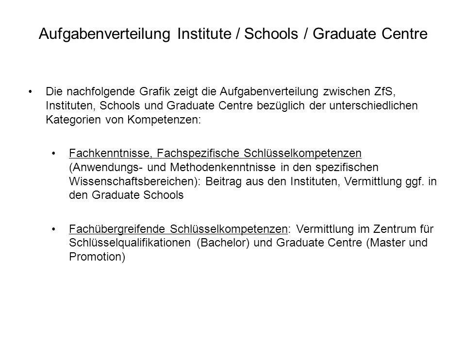 Aufgabenverteilung Institute / Schools / Graduate Centre Die nachfolgende Grafik zeigt die Aufgabenverteilung zwischen ZfS, Instituten, Schools und Gr