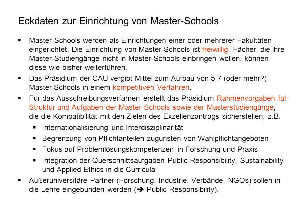 Eckdaten zur Einrichtung von Master-Schools  Master-Schools werden als Einrichtungen einer oder mehrerer Fakultäten eingerichtet. Die Einrichtung von