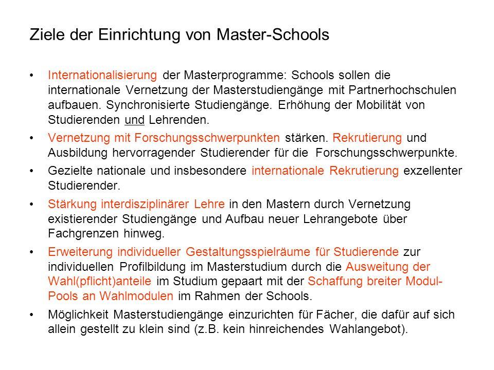 Ziele der Einrichtung von Master-Schools Internationalisierung der Masterprogramme: Schools sollen die internationale Vernetzung der Masterstudiengäng