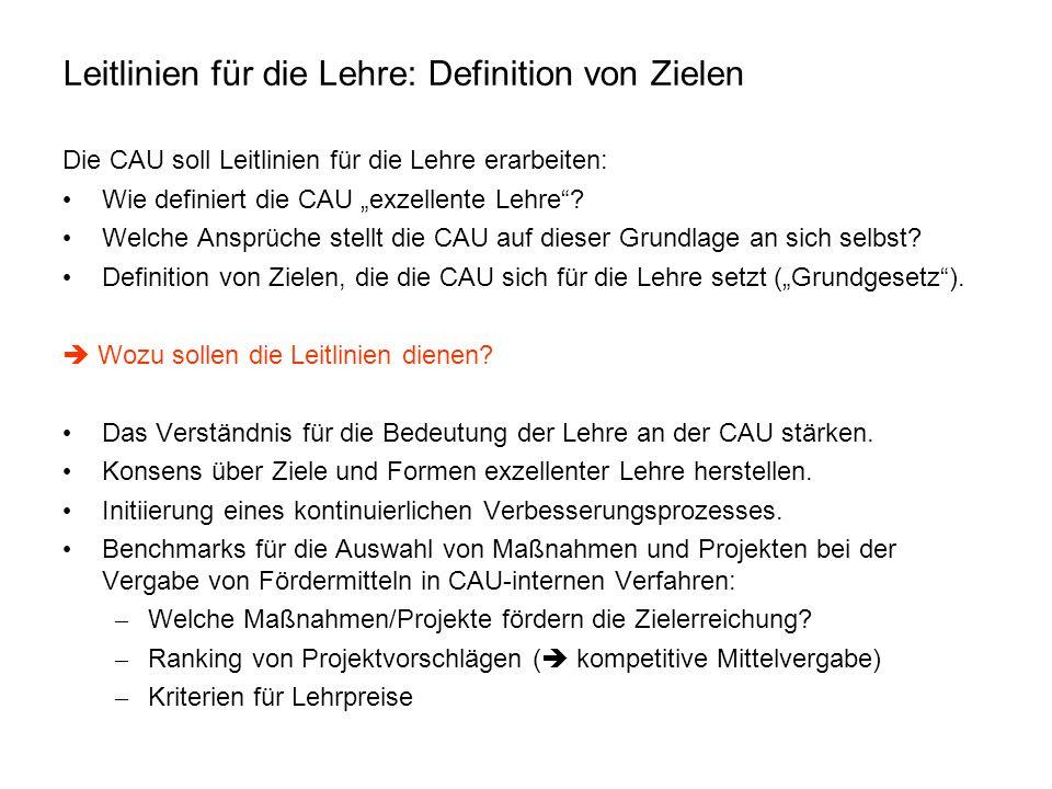 """Leitlinien für die Lehre: Definition von Zielen Die CAU soll Leitlinien für die Lehre erarbeiten: Wie definiert die CAU """"exzellente Lehre""""? Welche Ans"""