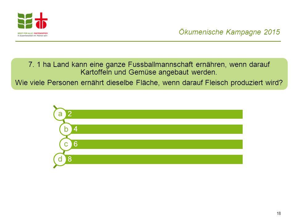 Ökumenische Kampagne 2015 18 7. 1 ha Land kann eine ganze Fussballmannschaft ernähren, wenn darauf Kartoffeln und Gemüse angebaut werden. Wie viele Pe