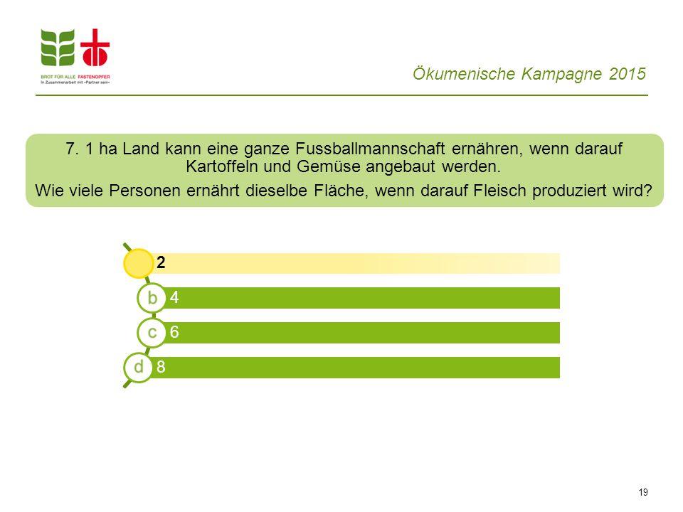 Ökumenische Kampagne 2015 19 2 4 6 8 7. 1 ha Land kann eine ganze Fussballmannschaft ernähren, wenn darauf Kartoffeln und Gemüse angebaut werden. Wie