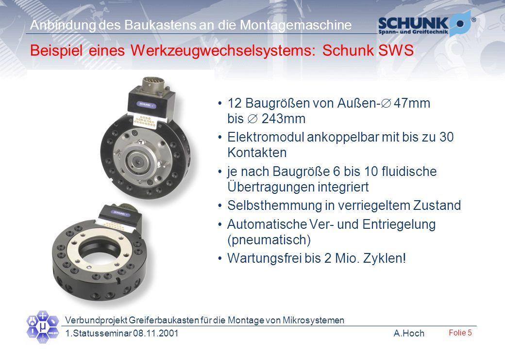 A.Hoch Verbundprojekt Greiferbaukasten für die Montage von Mikrosystemen 1.Statusseminar 08.11.2001 Anbindung des Baukastens an die Montagemaschine Fo
