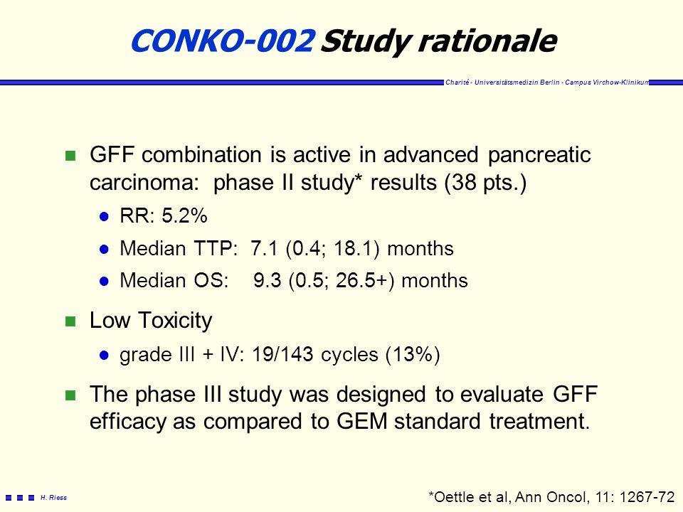Charité - Universitätsmedizin Berlin - Campus Virchow-Klinikum H. Riess CONKO-002 Study rationale n GFF combination is active in advanced pancreatic c