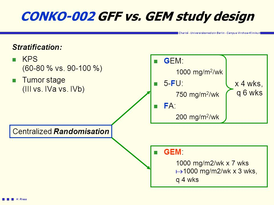 Charité - Universitätsmedizin Berlin - Campus Virchow-Klinikum H. Riess CONKO-002 GFF vs. GEM study design Stratification: n KPS (60-80 % vs. 90-100 %