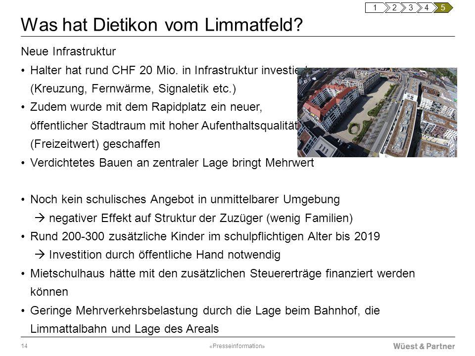 Was hat Dietikon vom Limmatfeld? Neue Infrastruktur Halter hat rund CHF 20 Mio. in Infrastruktur investiert (Kreuzung, Fernwärme, Signaletik etc.) Zud