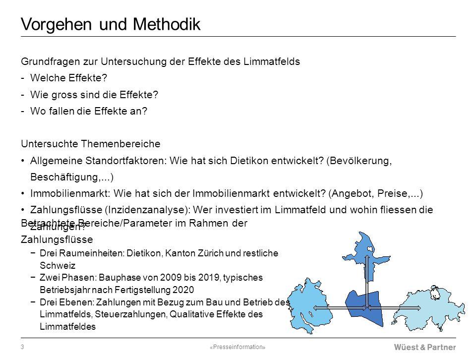 Vorgehen und Methodik Grundfragen zur Untersuchung der Effekte des Limmatfelds -Welche Effekte? -Wie gross sind die Effekte? -Wo fallen die Effekte an