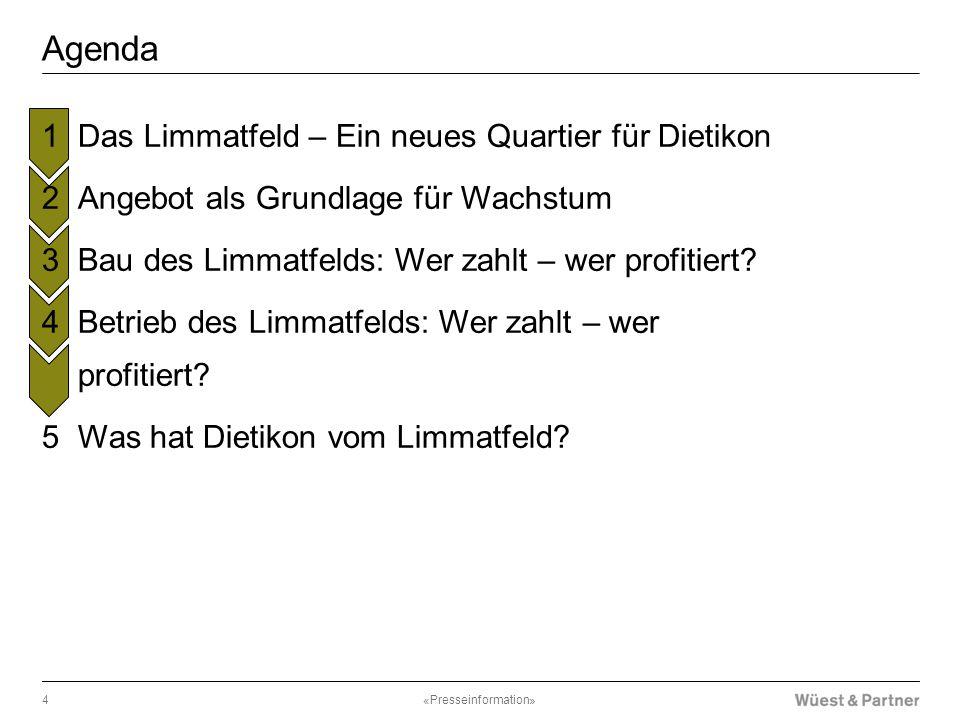 Agenda «Presseinformation»4  Das Limmatfeld – Ein neues Quartier für Dietikon  Angebot als Grundlage für Wachstum  Bau des Limmatfelds: Wer zahlt –