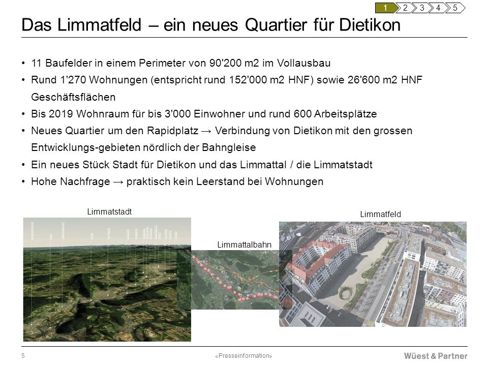 Das Limmatfeld – ein neues Quartier für Dietikon 11 Baufelder in einem Perimeter von 90'200 m2 im Vollausbau Rund 1'270 Wohnungen (entspricht rund 152