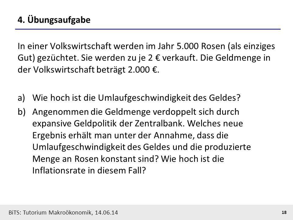 BiTS: Tutorium Makroökonomik, 14.06.14 18 4. Übungsaufgabe In einer Volkswirtschaft werden im Jahr 5.000 Rosen (als einziges Gut) gezüchtet. Sie werde