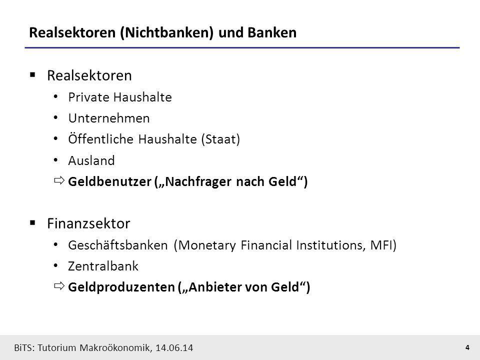 BiTS: Tutorium Makroökonomik, 14.06.14 4 Realsektoren (Nichtbanken) und Banken  Realsektoren Private Haushalte Unternehmen Öffentliche Haushalte (Sta