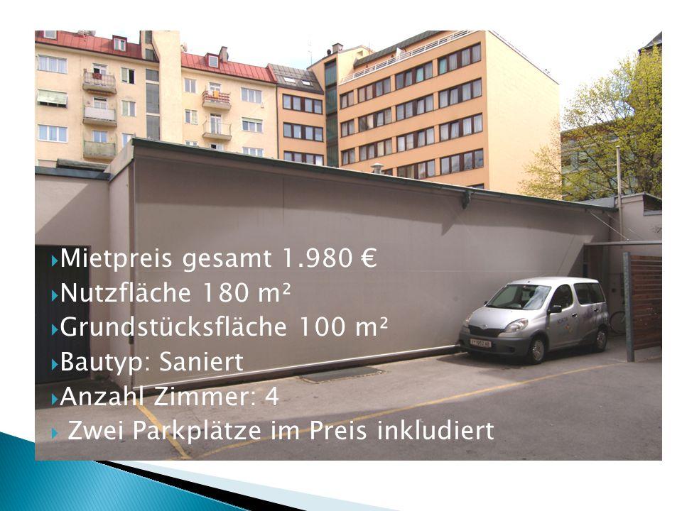  Mietpreis gesamt 1.980 €  Nutzfläche 180 m²  Grundstücksfläche 100 m²  Bautyp: Saniert  Anzahl Zimmer: 4  Zwei Parkplätze im Preis inkludiert