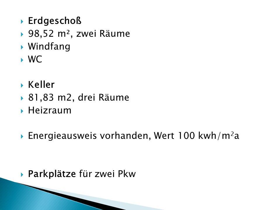  Genaue Angaben zum Energiewert: Energiewerte HWB: 100 kwh/m2a Klasse HWB: D fGEE: 1,33 Klasse fGEE: C