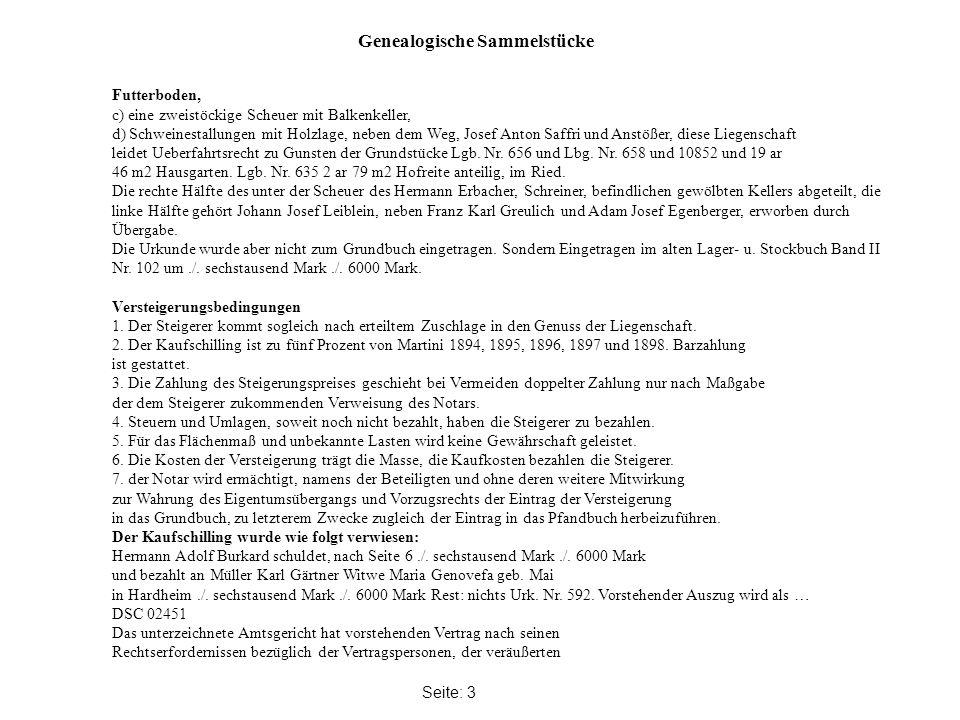 Genealogische Sammelstücke Seite: 3 Futterboden, c) eine zweistöckige Scheuer mit Balkenkeller, d) Schweinestallungen mit Holzlage, neben dem Weg, Josef Anton Saffri und Anstößer, diese Liegenschaft leidet Ueberfahrtsrecht zu Gunsten der Grundstücke Lgb.