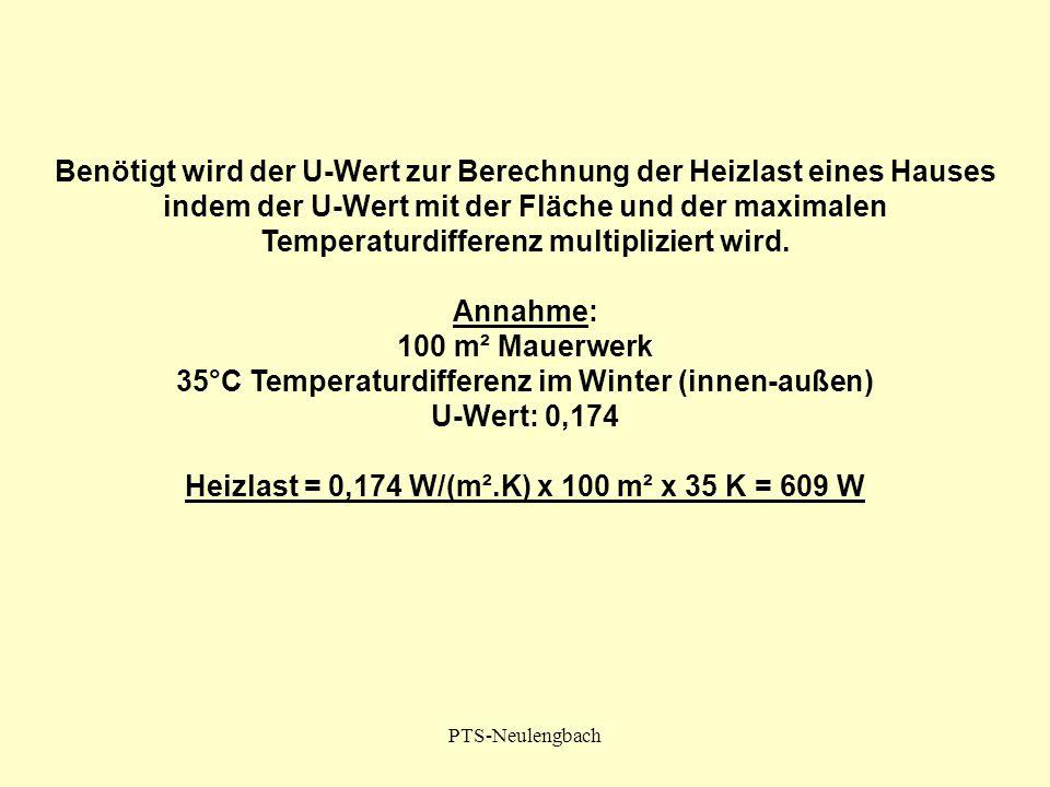 PTS-Neulengbach Benötigt wird der U-Wert zur Berechnung der Heizlast eines Hauses indem der U-Wert mit der Fläche und der maximalen Temperaturdifferen