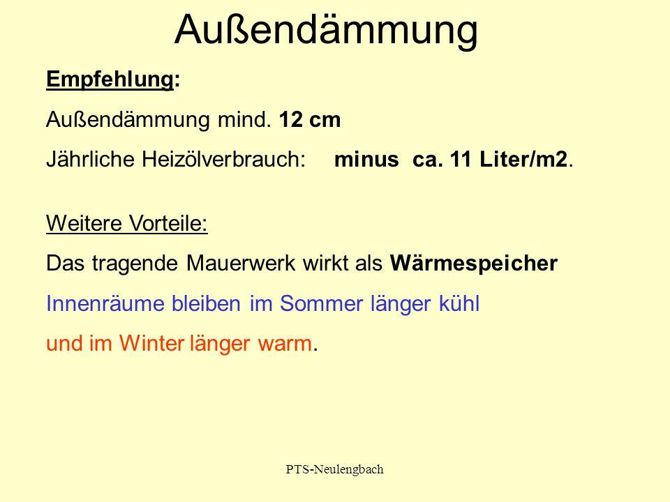 PTS-Neulengbach Empfehlung: Außendämmung mind. 12 cm Jährliche Heizölverbrauch: minus ca. 11 Liter/m2. Weitere Vorteile: Das tragende Mauerwerk wirkt
