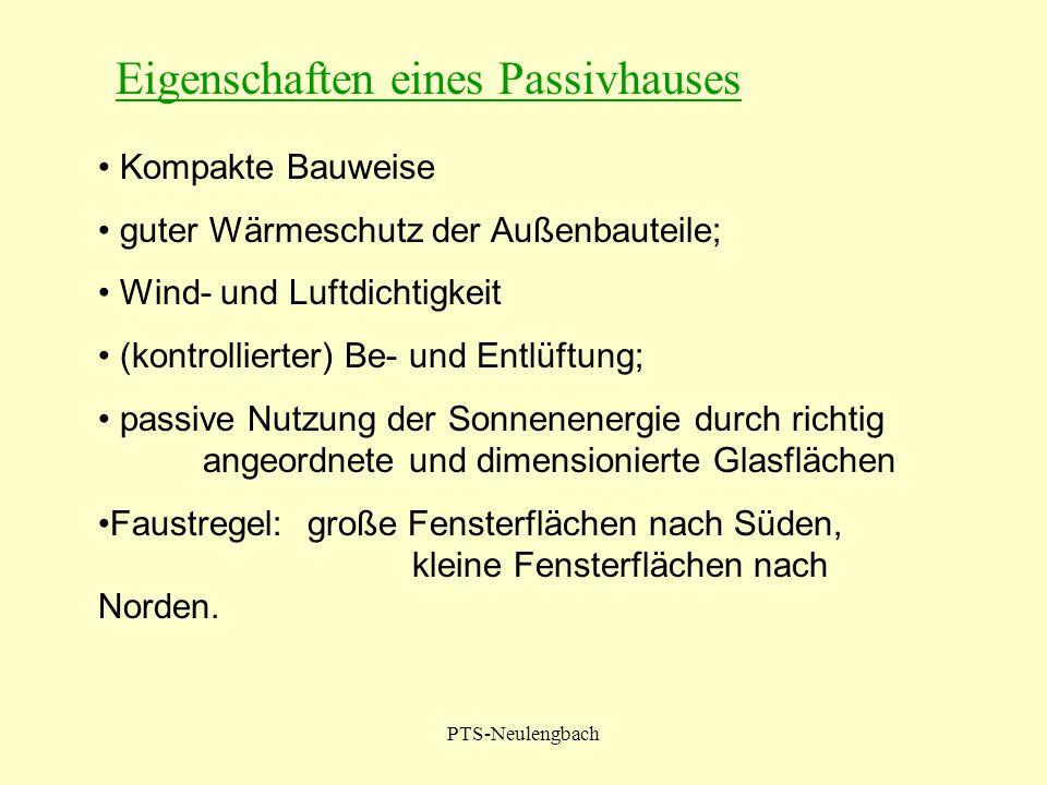 PTS-Neulengbach Kompakte Bauweise guter Wärmeschutz der Außenbauteile; Wind- und Luftdichtigkeit (kontrollierter) Be- und Entlüftung; passive Nutzung