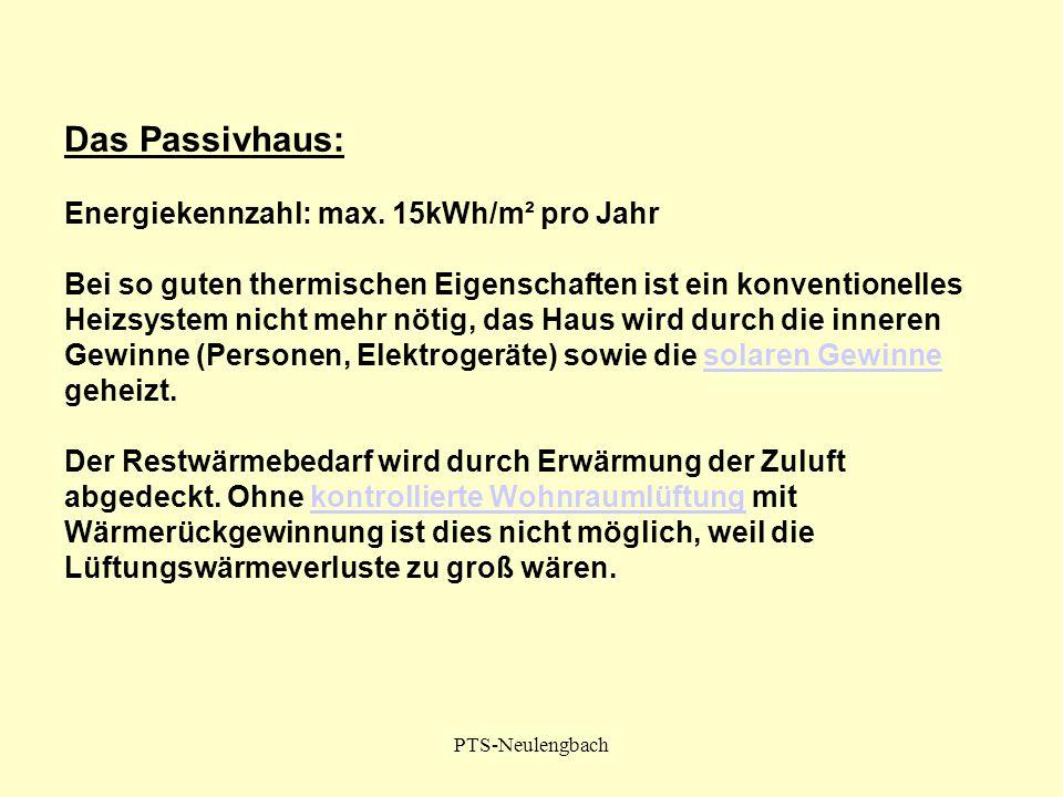 PTS-Neulengbach Das Passivhaus: Energiekennzahl: max. 15kWh/m² pro Jahr Bei so guten thermischen Eigenschaften ist ein konventionelles Heizsystem nich