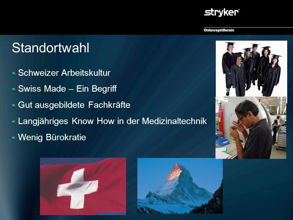 Osteosynthesis Standortwahl Schweizer Arbeitskultur Swiss Made – Ein Begriff Gut ausgebildete Fachkräfte Langjähriges Know How in der Medizinaltechnik Wenig Bürokratie