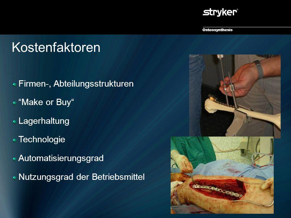 Osteosynthesis Kostenfaktoren Firmen-, Abteilungsstrukturen Make or Buy Lagerhaltung Technologie Automatisierungsgrad Nutzungsgrad der Betriebsmittel