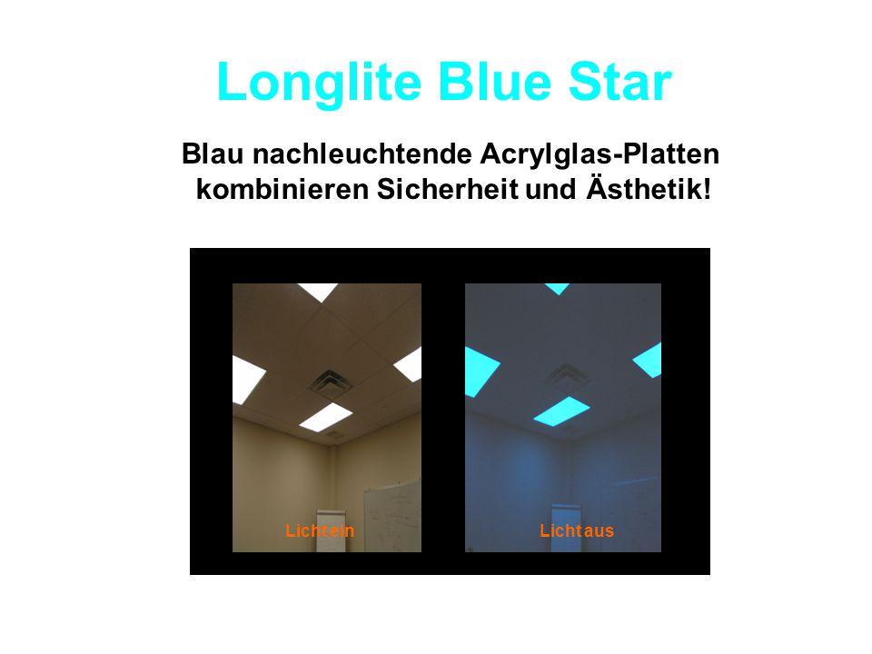Longlite Blue Star Blau nachleuchtende Acrylglas-Platten kombinieren Sicherheit und Ästhetik! Licht einLicht aus